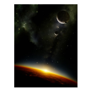 Orbit of an alien planet postcard