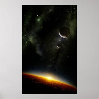 Órbita de un planeta extranjero póster