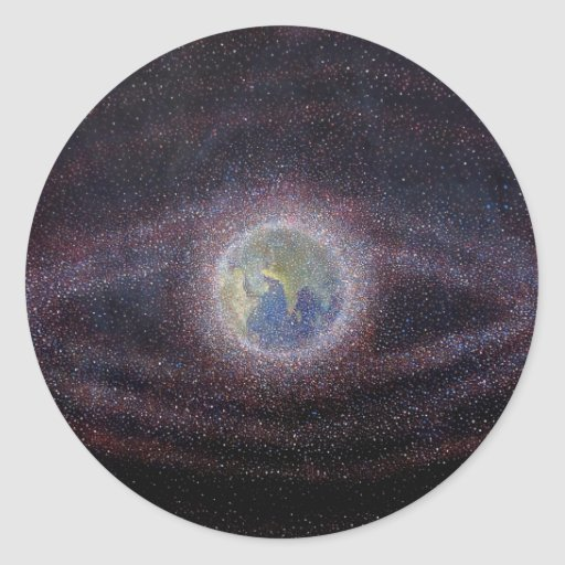 Orbital Debris Painting Classic Round Sticker