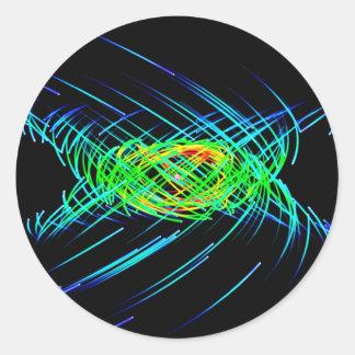 Orbiting Light Streaks Round Stickers