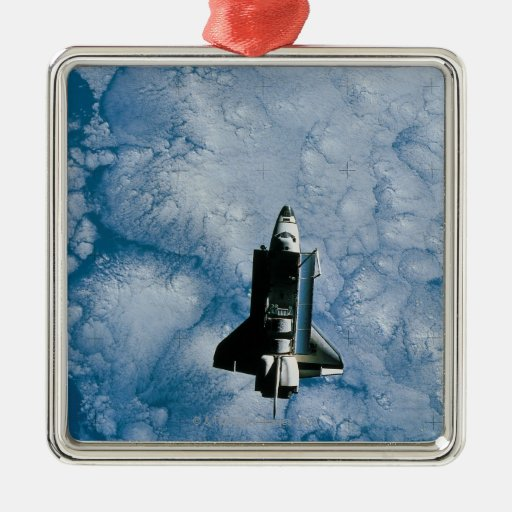 Orbiting Space Shuttle Square Metal Christmas Ornament