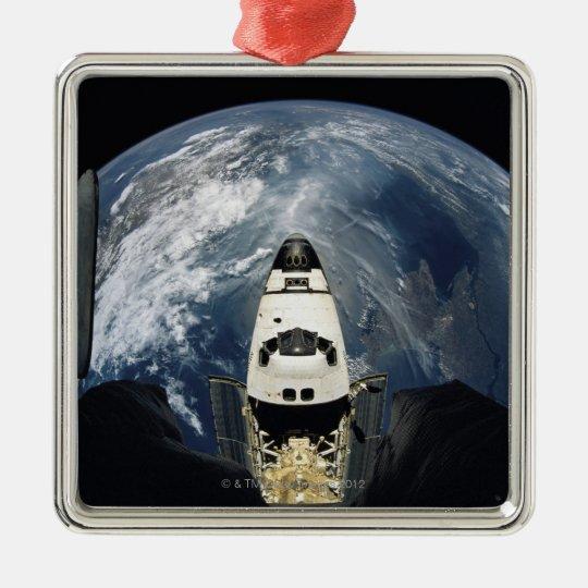Orbiting Spacecraft Metal Ornament