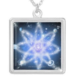 Orbits of planets square pendant necklace