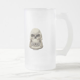 Orc Skull Frosted Glass Beer Mug