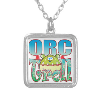 Orc Troll Square Pendant Necklace