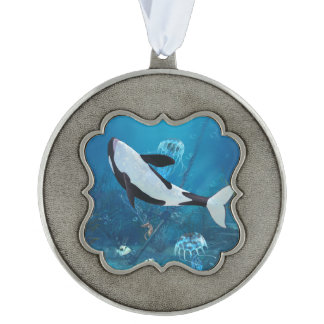 Orca 2 pewter ornament