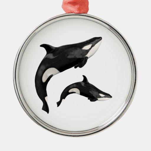Orca aislada adorno navideño redondo de metal