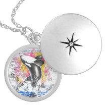 Orca Ancient Rainbow Map Locket Necklace