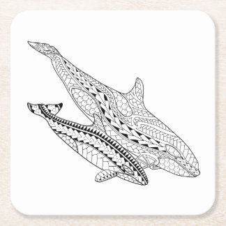 Orca And Baby Adult Coloring Paper Coaster