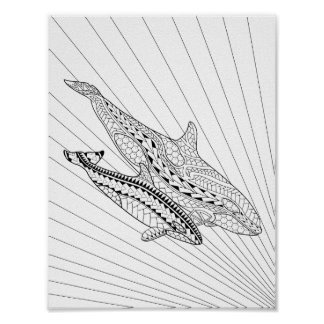 Orca And Baby Adult Coloring Poster