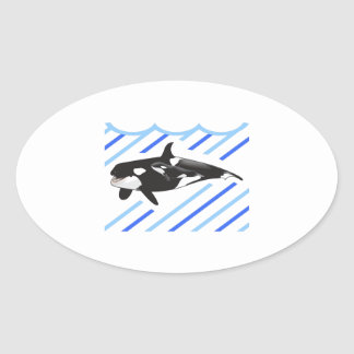 ORCA AND CALF IN WATER OVAL STICKER