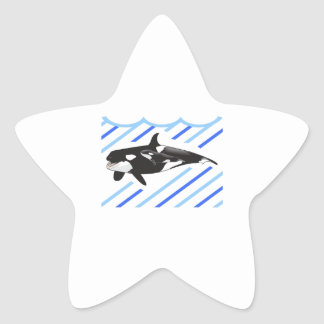ORCA AND CALF IN WATER STAR STICKERS