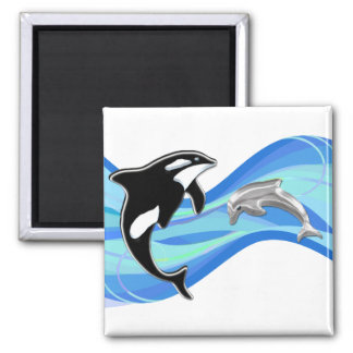 Orca and Dolphin in the Waves 2 Inch Square Magnet