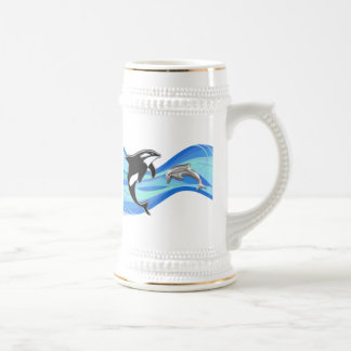 Orca and Dolphin in the Waves Beer Stein