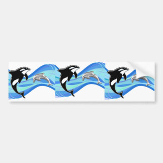 Orca and Dolphin in the Waves Bumper Sticker