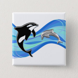 Orca and Dolphin in the Waves Button