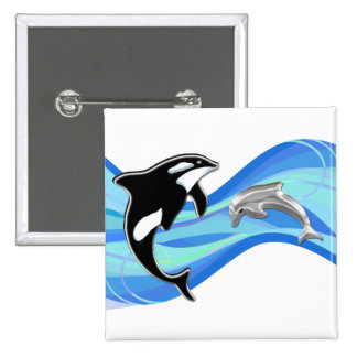 Orca and Dolphin in the Waves Pin
