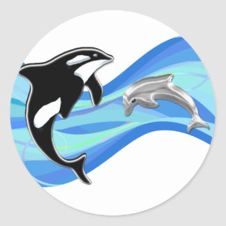Orca and Dolphin in the Waves Classic Round Sticker