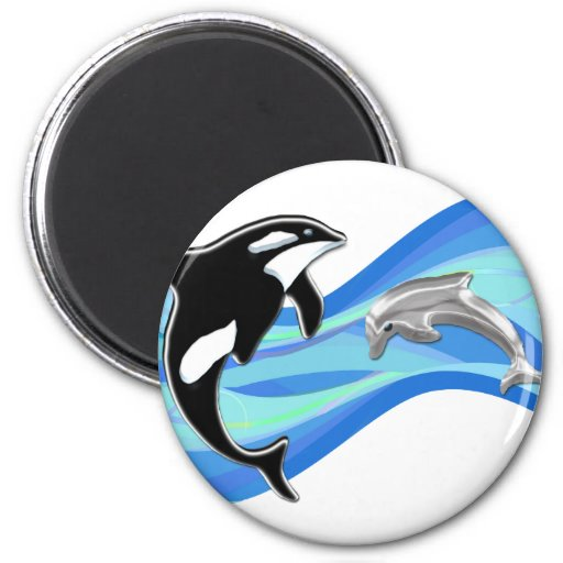 Orca and Dolphin in the Waves Fridge Magnets