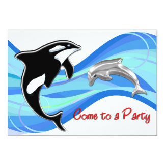 Orca and Dolphin in the Waves Personalized Invites