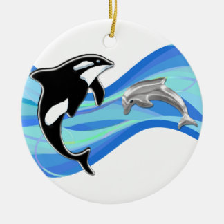 Orca and Dolphin in the Waves Ornaments