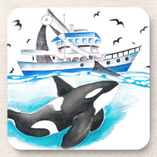 Orca And The Boat Beverage Coaster