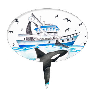 Orca And The Boat Cake Topper