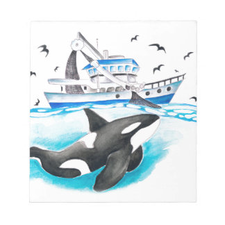 Orca And The Boat Notepad