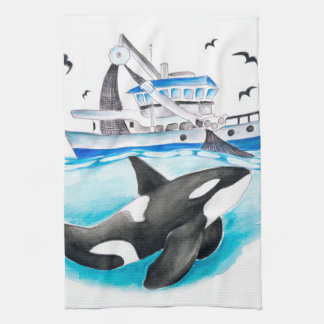 Orca And The Fishing Boat Hand Towel