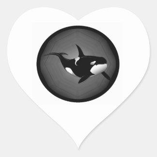 ORCA AT NIGHT HEART STICKER