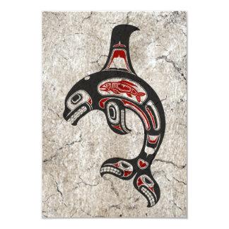 """Orca azul y negra agrietada del alcohol del Haida Invitación 3.5"""" X 5"""""""
