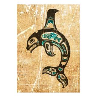 Orca azul y negra agrietada del alcohol del Haida Tarjetas De Visita Grandes