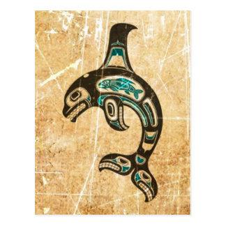 Orca azul y negra agrietada del alcohol del Haida Tarjeta Postal