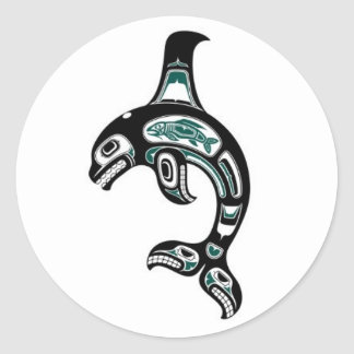 Orca azul y negra del alcohol del Haida Pegatina