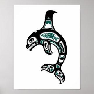 Orca azul y negra del alcohol del Haida Poster