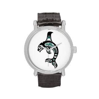 Orca azul y negra del alcohol del Haida Reloj