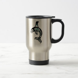 Orca azul y negra del alcohol del Haida Taza De Café