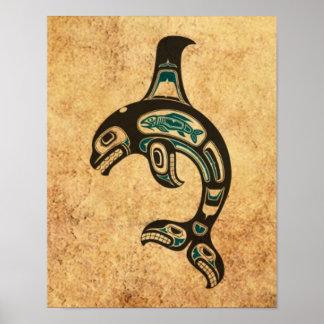 Orca azul y negra envejecida del alcohol del Haida Impresiones