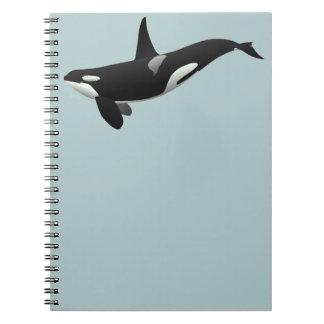 Orca blanco y negro de la orca libro de apuntes con espiral