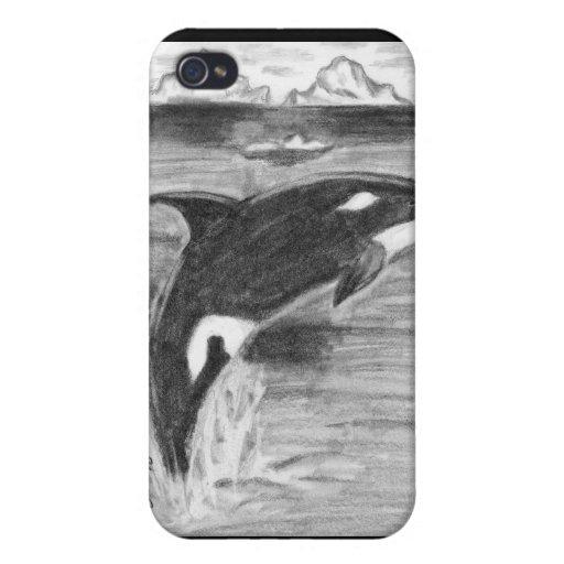 Orca blanco y negro iPhone 4/4S carcasa