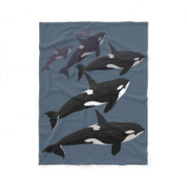 Orca Blanket Cool Killer Whale Art Fleece Blanket