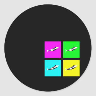 Orca Blocks In Four Colors Classic Round Sticker