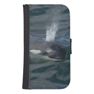 Orca blowing phone wallet