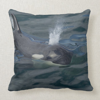 Orca blowing throw pillow