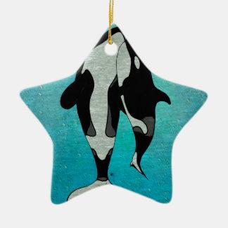 Orca Blue Ceramic Ornament
