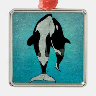 Orca Blue Metal Ornament