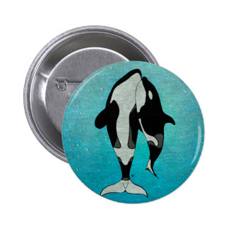 Orca Blue Pinback Button