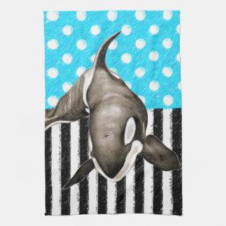 Orca Blue Polka Dot Hand Towel