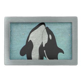Orca Blue Rectangular Belt Buckle