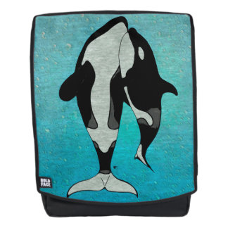 Orca Blue Woodblock Backpack
